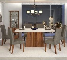Sala de Jantar Mesa Itália 170cm e 6 Cadeiras Golden Carvalho/Off/Bronze - Dj Móveis