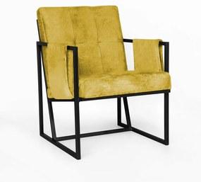 Poltrona Megan Luxo  Decorativo Base Preto Suede Amarelo