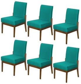 Kit 06 Cadeiras de Jantar Helena Suede Azul Tiffany
