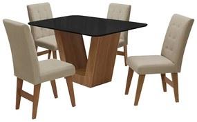 Conjunto Mesa de Jantar Safira com 04 Cadeiras Agata 135cm Cedro/Preto/Bege - ADJ DECOR