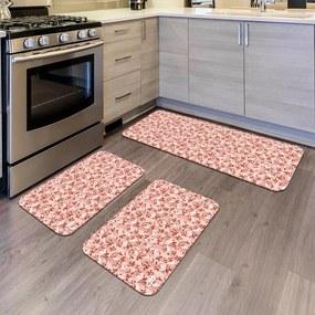 Kit com 3 Tapetes de Cozinha Mdecore Floral RosaÚnico