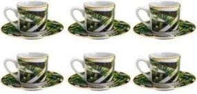 Jogo de Xícaras c/Pires 12 pcs 90ml Lyor em Porcelana p/Café