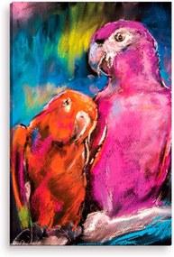 Tela Decorativa Estilo Pintura Papagaios Arte Moderna - Tamanho: 90x60cm (A-L) Unico