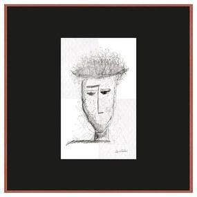 Quadro Decorativo Figurativo Expressão Facial Pensativo Preto e Branco 70x70 - CZ 44107