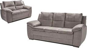 Conjunto De Sofá Com Fibra No Encosto Apogeu 3 E 2 Lugares Tecido Suede Cinza - Umaflex