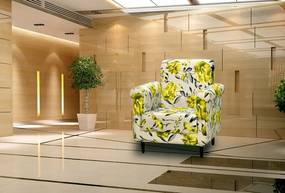 Poltrona Decorativa Betina - Floral amarelo