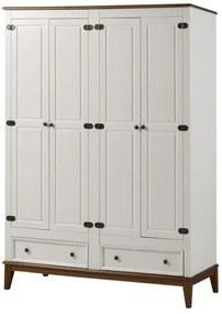 Armario Malibu 4 Portas e 2 Gavetas cor Branco com Amendoa 204 cm - 63668 Sun House