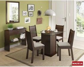 Sala De Jantar Madesa Base De Madeira Com Tampo De Vidro E 4 Cadeiras Lucy - Tabaco E Pérola