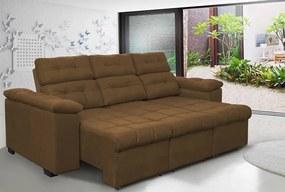 Sofa Columbia 2,25 Mts Retrátil E Reclinavel Tecido Suede Café