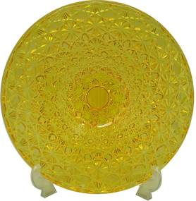 Centro de Mesa Craquele Amarelo em Vidro - Urban - 33x6 cm