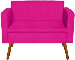 Sofá Retrô Namoradeira Emília Suede Pink Pés Palito - D'Rossi