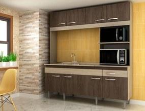 Cozinha Compacta Completa Luisa 08 Portas 01 Gavetas 200x185x54 Cm Malbec - MegaSul