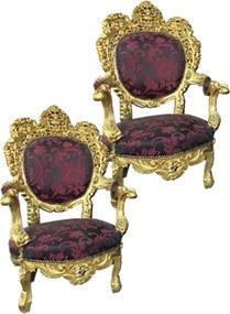 Jogo de Sofá Clássico Medalhão Luis XV Vermelho 4 Poltronas