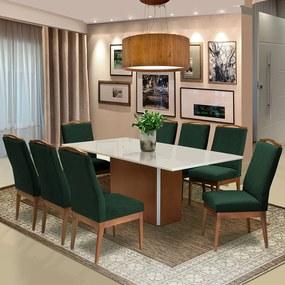Conjunto Mesa Jade 2,08 m Off White + 8 Cadeiras Lara Aveludado Verde