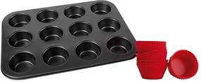 Assadeira Inox Com 12 Formas De Silicone Doce de Cozinha 13 Peças