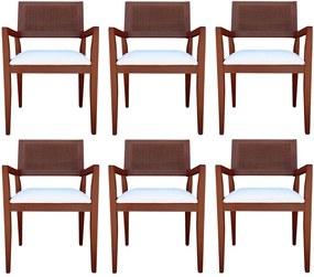 Kit 6 Cadeiras Decorativas Sala de Jantar Megan Imbuia Linho Bege - Gran Belo