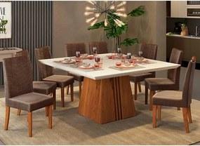 Mesa de Jantar Paris 140cm Rústico Terrara Off White + 8 Cadeiras Lucila Veludo Moca