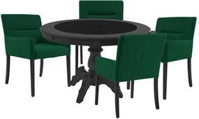 Mesa de Jogos Carteado Montreal Redonda Tampo Reversível Preto com 4 Cadeiras Vicenza Verde - Gran Belo