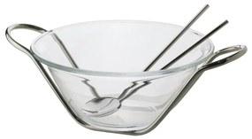 Saladeira Cristal Com Par Talheres E Suporte Inox Nápoles 25cm 85020 Wolff