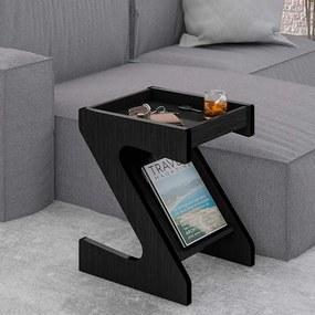 Mesa de Canto Gescher com Porta Revistas 40cm Preto