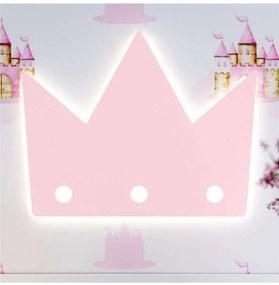 Luminária Parede Quarto Bebê Coroa Rosa Led Grão d