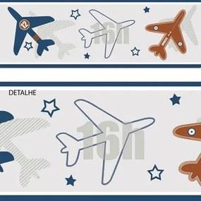 Faixa De Parede Texturizado Artístico Faixa Avião Azul Estrelas Sombra Geométrico Your Dream 171903