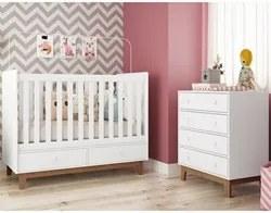 Quarto de Bebê Berço Certificado pelo Inmetro BY110 e Cômoda BY120 Bra