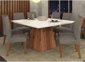 Mesa de Jantar Paris 140cm Rústico Terrara Off White + 8 Cadeiras Laura Linho Bronze