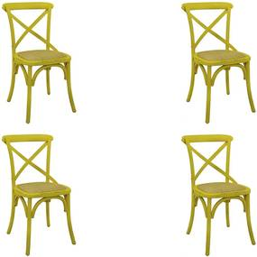 Kit 4 Cadeiras Decorativas Sala De Jantar Cozinha Danna Rattan Natural Amarela - Gran Belo