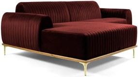 Sofá 4 Lugares com Chaise Base de Madeira Euro 255 cm Veludo Vinho - Gran Belo