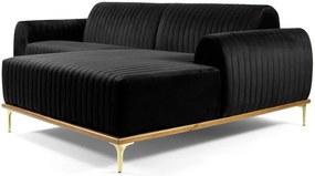Sofá 3 Lugares com Chaise Base de Madeira Euro 230 cm Veludo Preto - Gran Belo