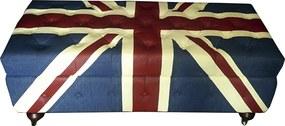 Baú em Madeira Estofado Capitonê Bandeira Inglaterra