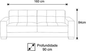 Sofá Ventura 160cm 2 Assentos 2 Lugares Suede Animale Cinza - D'Monegatto
