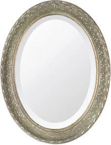 Espelho Oval Bisotê Prata Envelhecido Grande