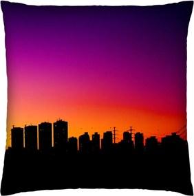 Almofada Colours Creative Photo Decor Skyline - tamanho 45 x 45 cm Roxo