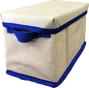 Caixa Organizadora com tampa e alça 14x15x28cm Organibox bege/azul