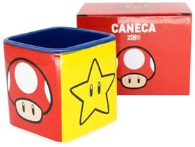 Caneca Quadrada Cubo Mario Bros Ícones