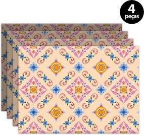 Jogo Americano Mdecore Ornamental 40x28cm Rosa 4pçs
