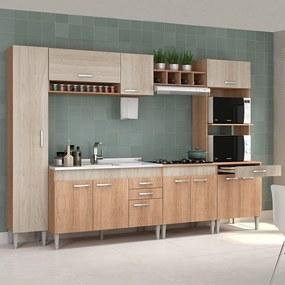 Cozinha Completa Flex 11 Portas Cc03st Carvalho/Blanche/Bordô - Fellicci
