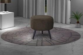 Puff Decorativo redondo pés palito Alegria - Marrom escuro granite