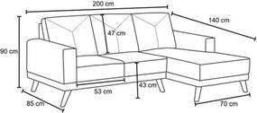 Sofá 3 Lugares com Chaise Esquerdo Capricho Suede Indigo - D'Monegatto