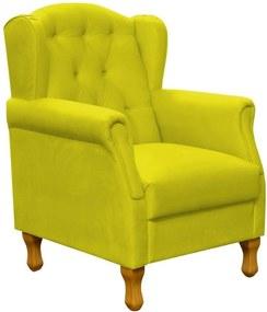 Poltrona Decorativa Para Sala de Estar Lymdecor Yara Suede Amarelo