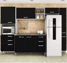 Cozinha Modulada com Balcão Para Pia Natália Branco/Preto - Poquema