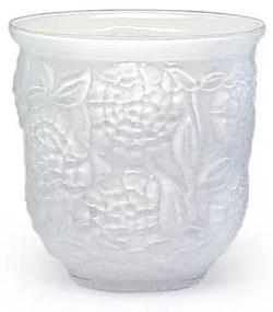 Cachepot Vaso Flores Branco Leitoso Murano Cristais Cadoro