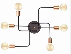 Plafon Retro Vintage Industrial Vivare Md-9000-6 Tamanho 12x62x47cm - Preto / Cobre