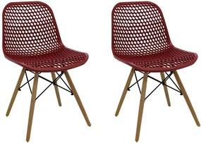 Kit 2 Cadeiras Decorativas Sala e Cozinha Haney (PP) Carmin - Gran Belo