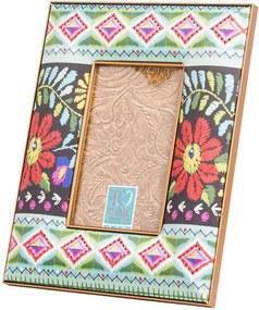 Porta-Retrato Patchwork Tropical Multicolorido em Resina - 23x18 cm