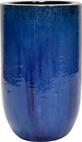 Vaso Vietnamita Cerâmica Importado U Planter PP Azul D26cm x A41cm