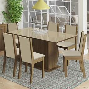 Conjunto Sala de Jantar Moscou Plus Madesa Mesa Tampo de Vidro com 6 Cadeiras Rustic/Crema/Pérola Cor:Rustic/Crema/Pérola