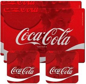 Conjunto 2 Jogos Americanos e 2 Porta-Copos Coca-Cola Wave Vermelho